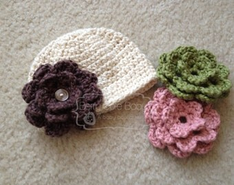 Button Beanie with Interchangeable Flowers, Organic Cotton, Toddler