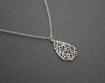 078- Detailed mod drop pendant - STERLING SILVER necklace