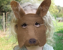 Australian Kangaroo Mask PATTERN. Digital Download Sewing Pattern- Kids Kangaroo Costume