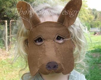 Kangaroo Mask PATTERN. Kids Kangaroo Costume PDF sewing patttern.