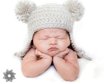 White Linen Baby Bear Hat, Newborn Earflap Beanie, Size PREEMIE - ON SALE