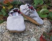 Flannel Baby slip on shoes--Light Gray Herringbone cotton--boy--holiday--Christmas