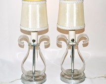 Sale Was 67.00   Plexiglas Lamps with Labels Attached, Pair, Shaped Like Harps