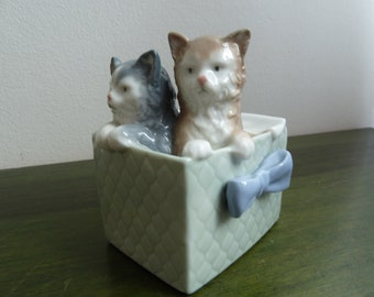 Vintage1980th Lladro porcelain figure two cats in box