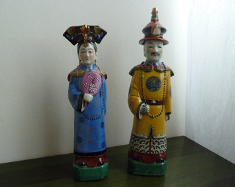 Vintage chinese porcelain figures of imperor and impress
