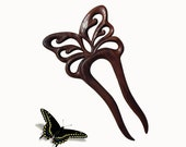 Wooden Hair Fork, Sticks , Hair Accessory, Hairpin, Butterfly, MariyaArts