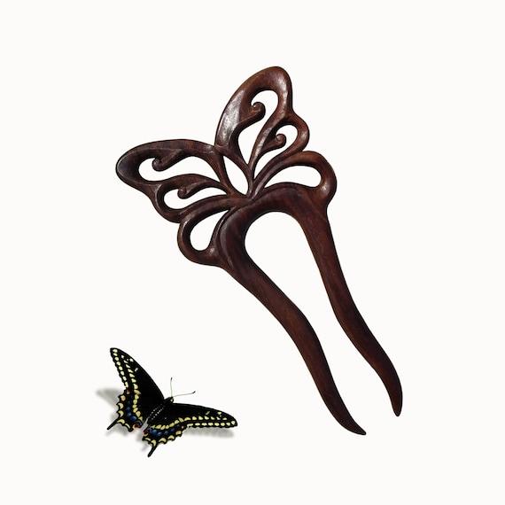 Wooden Hair Fork, Sticks , Hair Accessory, Hairpin, Butterfly, MariyaArts