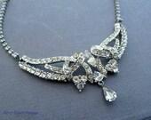 Rhinestone Bridal Necklace Choker Bib Diamond Style 1950s Jewelry
