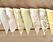 Summer Garden - Vintage Bunting Banner with 12 Flags