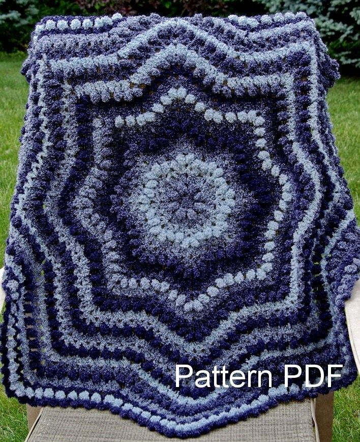 Crochet Patterns For Round Baby Blankets : Crochet Baby Blanket Pattern EASY Ripple Round Afghan