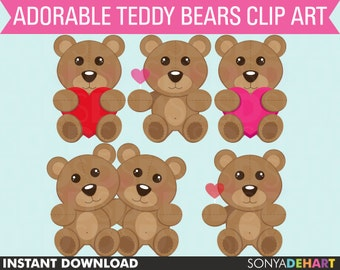 70% OFF SALE Bear Clipart, Valentine Clipart, Teddy Bear Clipart, Bear Clip Art, Digital Bear, Digital Teddy Bear, Teddy Bear Clipart
