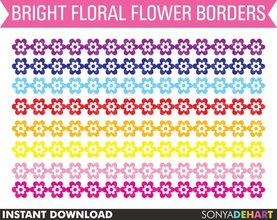 80% OFF SALE Clipart Flower Borders, digital clip art, commercial use, royalty free -CA44