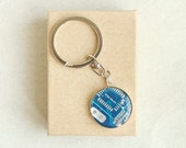 SALE Circuit board geekery keychain Blue in silvertone - recycled computer b4560 ready to ship