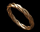 14K Gold Pink Rose Triple Twisted Rope Love Intertwined Infinity Wedding Band Ring 2.5mm Wide With Overnight Shipping