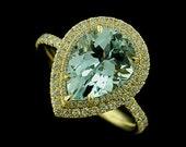 Pear Shape Aquamarine Diamond Cut Down Micro Pave 18k Yellow Gold Engagement Ring