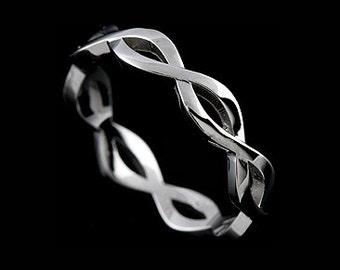 Infinity Wedding Ring, Twisted Wedding Band, Eternity Platinum Wedding Band, Braided Women's Wedding Ring, Classic Split Women's Ring 3.8mm