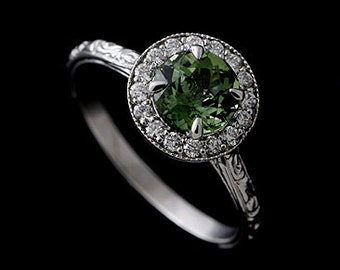 Vintage Diamond Halo Engagement Ring, 6mm Round Green Tourmaline Ring, Scroll Style Engraved Proposal Ring, 14K White Gold Prong Set Ring
