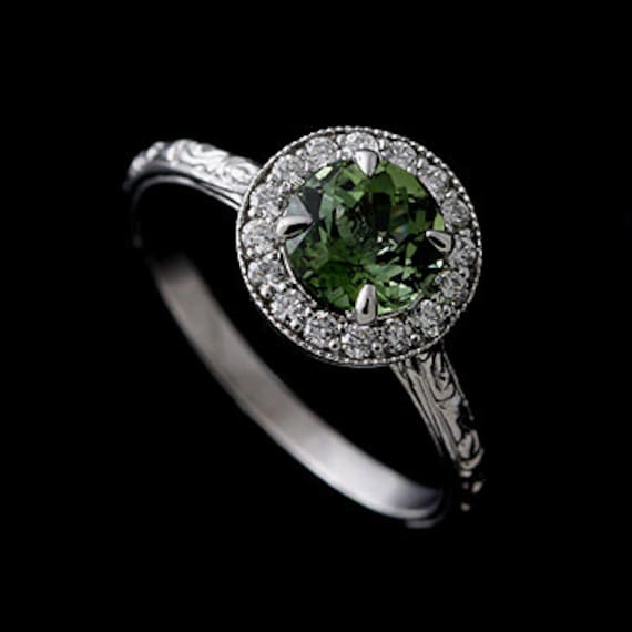 14K White Gold Vintage Style Green Tourmaline Diamond Halo Engraved Engagement Ring