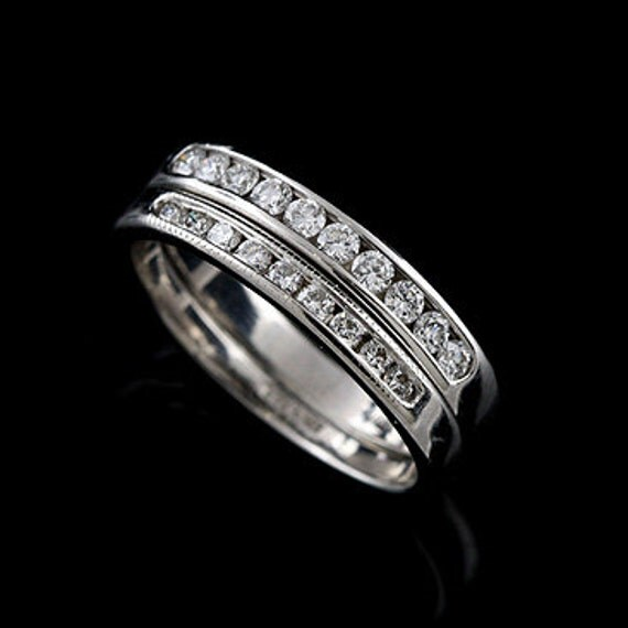 SALE 20%OFF 14K White Gold Channel Set Diamonds Half Way Double Wedding Band Ring
