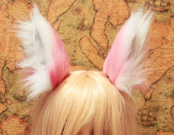 13 cm baby pink bottom White Tip Cat kitty Ear FOX ear Hair Clip Long Fur Wild Fox Wolf Cosplay Costumes Party Black Friday Cyber Monday