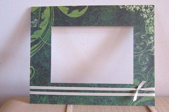 8x10 Green Theme Photo Matte with 5x7 Opening and Ribbon, Green Vines Irish Print Frame Matte