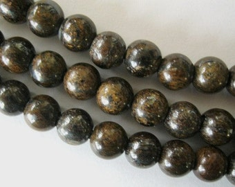 "Large Hole Bead Bronzite 8MM Round Fits Leather Cord 7.5""beads"