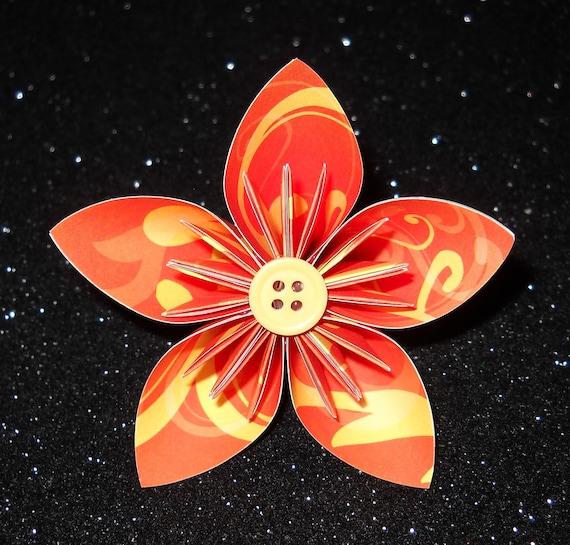 orange and yellow swirl origami paper flower