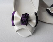 Handmade bow shoe clips bridal shoe clips wedding accessories in ivory and eggplant