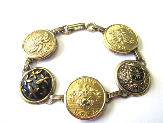 Antique WEST POINT cadet button bracelet, black & gold glass, USMA cadet buttons, one of a kind