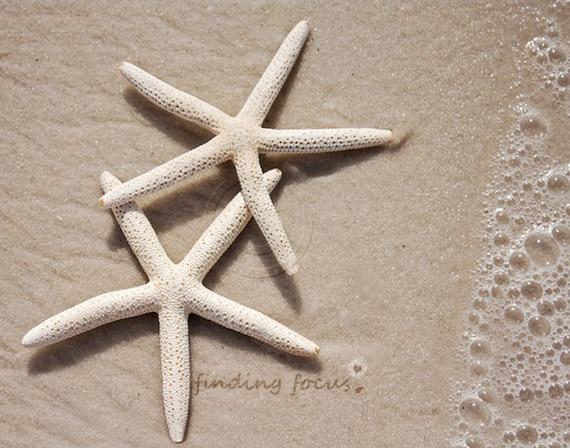 Two Starfish Beach Wedding Photography, Coastal Cottage Neutral Decor Beachy Sand Foam Surf, Pair Two of a Kind, Seaside Wall Art Photo