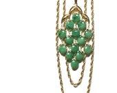 Crown Trifari Green Waterfall Necklace Apple Green Jade Green Three Gold Chain Runway Book Piece Fabulous Collection Piece