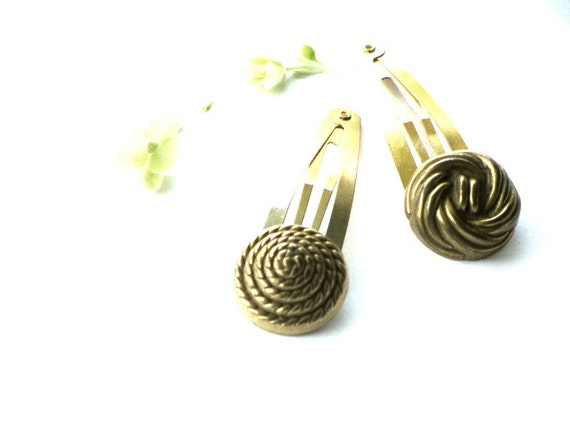Gold Snap Hair Clips Rope Button Clips Hair Accessories Back to School