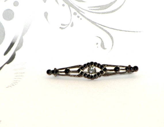 Vintage Pin, Art Deco, Black, Enamel and Rhinestone Bar Pin c.1930