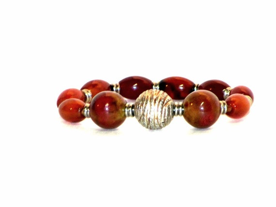 Red Agate and Ceramic Bracelet, Deep Carnelian Red, Rich Autumn Colors, Silver, Warm Glow