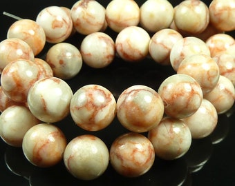 Red Vein Marbled Jasper Round Gemstone Beads - 15.5 Inch Strand - 10mm to 11mm - Brick Red, Creamy White, Tan, Gray - BC29