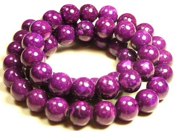 8mm Violet Fossil Stone Round Beads - 16 Inch Strand - Purple - BA17