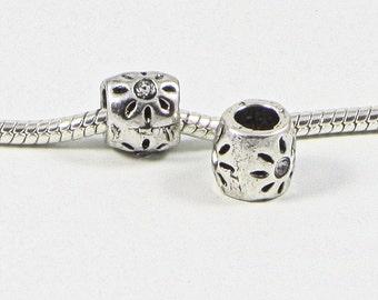 3 Beads - White Flower Rhinestone Silver European Charm Bead E0708