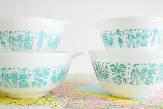 Four Pyrex Butterprint Amish Bowls - Aqua Turquoise Design on White Nesting Bowls - Two Cinderella Bowls and Two Round Mixing Bowls