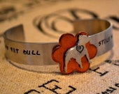 My Pit Bull Stole My Heart Handstamped Aluminum Cuff