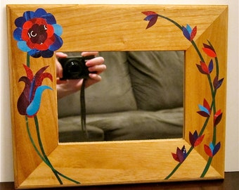 Magazine Paper Collage Design, Framed Mirror, Decoupage Red, Turquiose, Navy and Purple Flowers
