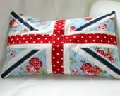 Union Jack cushion, pillow, floral, shabby chic, red, white, blue. Including insert, made to order.