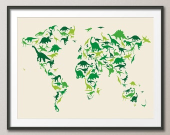 Dinosaur Map of the World Map, Art Print (935)