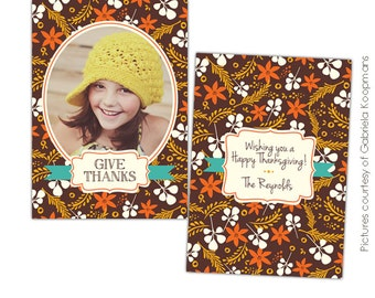 INSTANT DOWNLOAD - Thanksgiving Photo Card Photoshop template - Autumn collage - E578