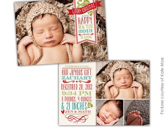 INSTANT DOWNLOAD - Christmas Birth Announcement Photoshop template - Christmas Dream- E631