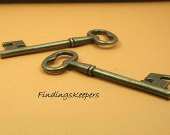 2 - 58 x 20 mm Key Charms Antique Brass Tone 58 x 20 mm  bz105