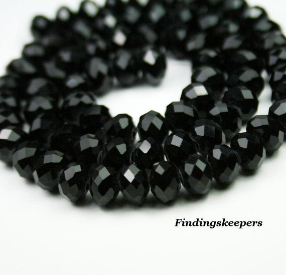 72 pcs. 8 x 6mm Black Faceted Rondelles 8B059