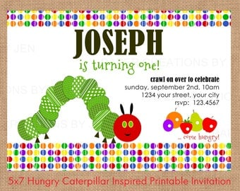 Hungry Caterpillar Inspired Printable Birthday Invitation