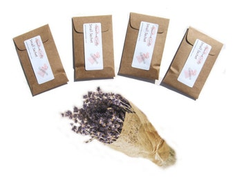 Aromatherapy Lavender Sachets Flower Seed Packet Favors Kraft Brown or Pick Color Rustic Wedding Favor Little Gifts for Her Personalized