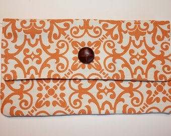 Small Orange and Cream Clutch/Wallet