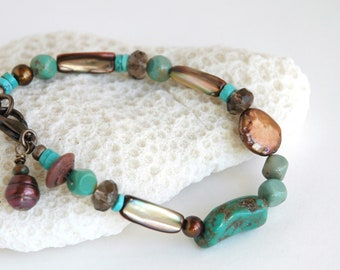 Gemstone Bracelet, Mixed stone beaded bracelet, Genuine Turquoise, OOAK Semiprecious beaded bracelet, Gift for her, Casual bracelet, Jewelry